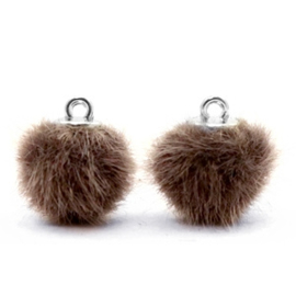 2 x Pompom bedels faux fur 12mm Classic brown