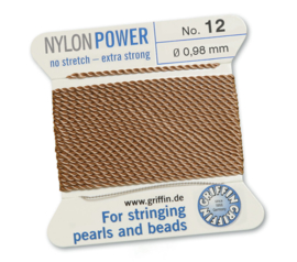 Nylon Power no stretch - extra strong 2 meter met naald  No: 12 Ø 0,98mm beige