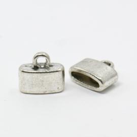 1 stuks tibetaans zilveren cord caps 10 x 11,5 x 5mm binnenzijde 2,5 x 9mm oogje: 2 mm