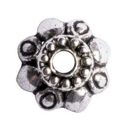 10 x metalen kralenkapje zilver kleur 10 x 4mm gat: 1,5mm