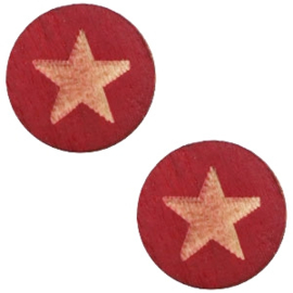 1 x Houten cabochon star 12mm Cherry red