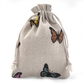 Stoffen cadeauzakje met vlinders  c.a. 14 x 10 cm  kleur en stof: Jute zand kleur (op = op!)