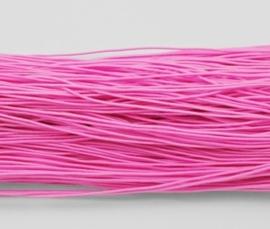 8 meter rond elastisch koord van rubber voorzien van een laagje stof 1mm roze