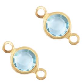 2 x Bedels DQ metaal tussenstuk crystal glas rond 6mm Gold-Ether aqua blue crystal