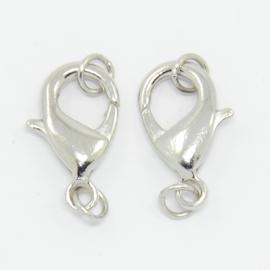 Platinum verbindingssluiting met ringen 18 x 10 x 4mm;  Ring: 5x7mm  (nikkelvrij)