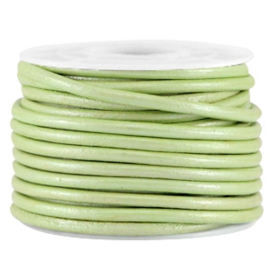 50cm DQ leer rond 3mm Crysolite green metallic