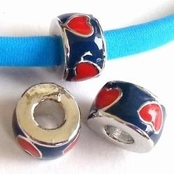 Per stuk European Jewelry kraal rond donkerblauw met rode hartjes antiek zilver metaal 11 mm