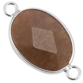1x Half edelsteen tussenstukken ovaal Greige - silver  13x18 mm