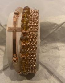 10 stuks Rose Gold kraaltjes, 6mm gat c.a. 2mm