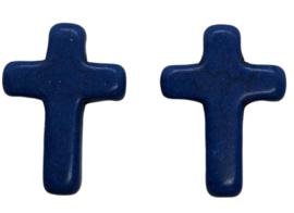 5 x Keramiek turquoise kruis donkerblauw 16 mm gat 2 mm