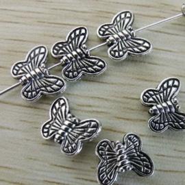 10 x Tibetaans zilveren vlinderkralen 10 x 8mm