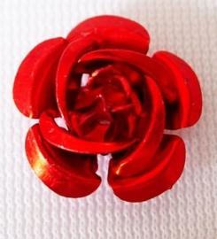 25 stuks aluminium roosjes 15 x 9mm, gat 1 mm rood