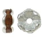 50 stuks Verzilverde Kristal Rondellen 7 mm Amber
