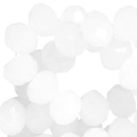 15 x Top Facet kralen 6x4 mm disc Wit opal