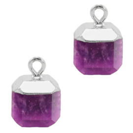 1 x Natuursteen hangers square Purple-silver Kristal