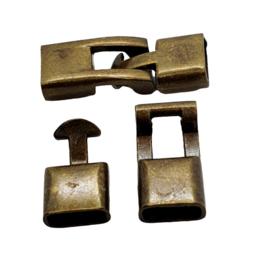 DQ metaal haaksluiting  geel koper (nikkelvrij)  ca. 32 x 12 x 5mm (Ø 10x2mm)