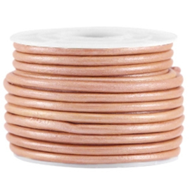 50cm DQ leer rond 3mm Rose brown metallic