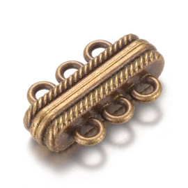 Luxe magneetsluiting 3 strengen 17 x 27 x 7mm oogje 3mm geel koper