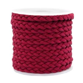 1 meter Trendy plat koord gevlochten silk style 5mm Rood