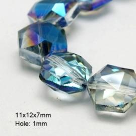 10 x Top helix vorm 12 mm facetkraal 12 x 11 x 7mm gat: 1mm Blue