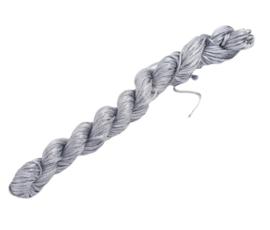 Bundel met 24 meter gevlochten nylon koord 1mm kleur grijs