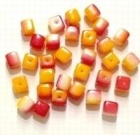 10 Stuks Glaskraal blokje oranje/fuchsia 6 mm
