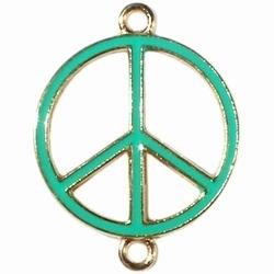 Per stuk Metalen bedel peace goud met bright groen, met twee ogen 30 mm