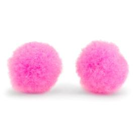 5 x Pompom bedel 8mm Neon pink ~zonder oogje