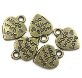 10 stuks Tibetaans zilveren made with love bedeltje 12,5mm x 10mm geel koper
