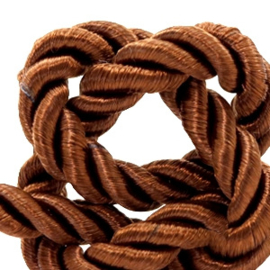 1 rol met 15 meter trendy koord weave 6mm Light chocolate brown (kies voor pakketpost)
