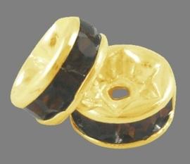 50 stuks kristal spacer verguld 10mm donker bruin gat 1,5mm
