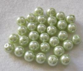 30 x prachtige glasparel 8mm Gat: 1mm kleur: licht groen