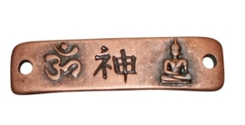 Metalen plaatje Buddha connector 58 x 15mm