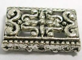 5 stuks tibetaans zilveren verdeler  tussenzetsels beide zijden 3 gaten 17 x 12mm gat: 1mm