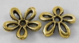 10 stuks kralenkapjes tibetaans zilver c.a. 11 x 2.5mm gat: 1mm goudkleur