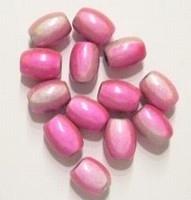 10 x 3D miraclekraal, ovaal roze/wit 11 x 8 mm gat c.a. 1.5mm