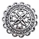 2 x Prachtig mooie grote Tibetaans zilveren kralenkap 26,5 x 7,5mm gat 1,2mm