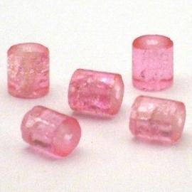 30 stuks crackle glas kralen cilinder vorm 7 x 8mm roze