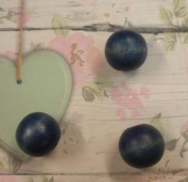 Per stuk Houten kraal donker blauw 16mm