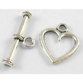 4 x Tibetaans zilveren slotje van een hartje 14 x 12mm staafje: 19mm
