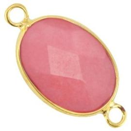 1x Half edelsteen tussenstukken ovaal Coral pink - gold 13x18 mm