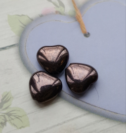Per 10 stuks donker bruine glaskraal hart  9mm x 10mm