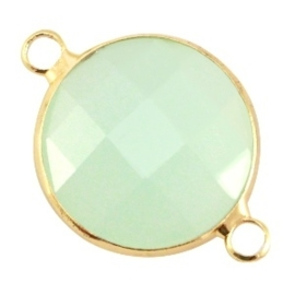 Prachtige facet geslepen crystal glas tussenstukken ca. 24x17mm Crysolite green