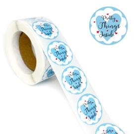 1 rol 500 stickers Wensetiket zegel rond 25mm Pretty Things Inside