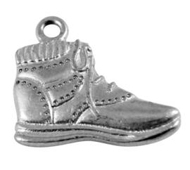 5x Tibetaans zilveren bedel van een wandelschoen 22x19mm gat 1mm