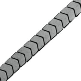 5 x Hematite kralen arrow Anthracite grey c.a. 6×5 mm
