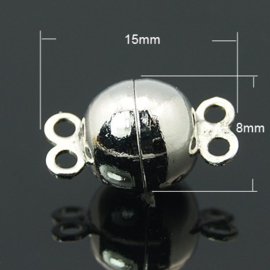 Magneetslotje platinum  2 strengen 15 x 8mm Gat 1mm