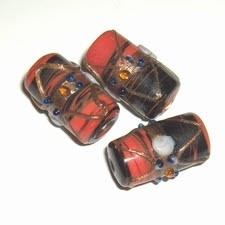 5 x Glaskraal cylinder 22x11 zwart/rood