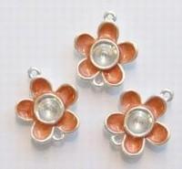 Per stuk Zilverkleurig metalen tussenzetsel bloem oranje 19 mm