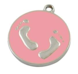 Emaille bedeltje, muntje met voetjes 23 x 20 x 2 Gat: 1,5mm roze